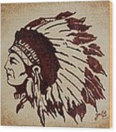 Indian Wise Chief Coffee Painting Wood Print