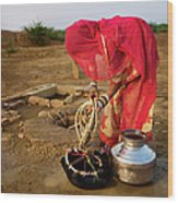 Indian Woman Getting Water From The Wood Print