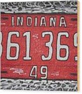 Indiana 1949 License Platee Wood Print