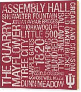Indiana College Colors Subway Art Wood Print by Replay Photos