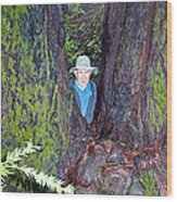 Indiana Jones In Armstrong Redwoods State Preserve Near Guerneville-ca Wood Print