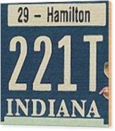 Indiana License Plate Wood Print