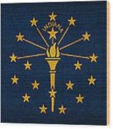 Indiana State Flag Art On Worn Canvas Wood Print