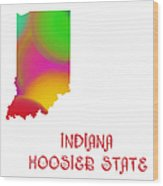 Indiana State Map Collection 2 Wood Print