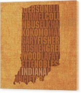 Indiana State Word Art On Canvas Wood Print by Design Turnpike