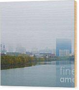 Indianapolis Autumn Skyline Fog Wood Print