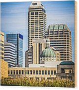 Indianapolis Cityscape Downtown City Buildings Wood Print by Paul Velgos