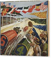 Indianapolis Motor Speedway - Vintage Lithograph Wood Print