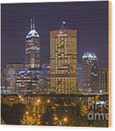 Indianapolis Night Skyline Echo Wood Print