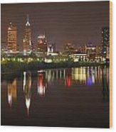 Indianapolis Skyline At Night Indy Downtown Color Panorama Wood Print