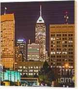 Indianapolis Skyline At Night Picture Wood Print by Paul Velgos