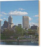 Indianapolis Skyline Blue 2 Wood Print by David Haskett