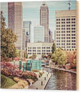 Indianapolis Skyline Old Retro Picture Wood Print