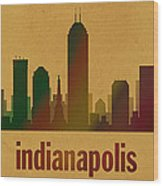 Indianapolis Skyline Watercolor On Parchment Wood Print