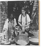 Indians Using Mortar And Pestle Wood Print
