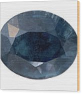 Indicolite Tourmaline Faceted Stone Wood Print