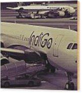 Indigo Aircraft Getting Ready In Changi Airport Wood Print