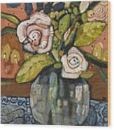 Indigo And Orange Floral Wood Print