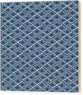 Indigo And White Small Diamonds- Pattern Wood Print