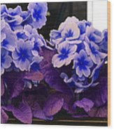 Indigo Flowers Wood Print