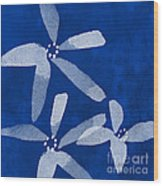 Indigo Flowers Wood Print by Linda Woods