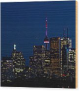 Indigo Sky And Toronto Skyline Wood Print
