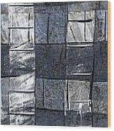 Indigo Squares 3 Of 5 Wood Print