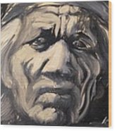 Indio Indian Black And White Oil Painting Wood Print