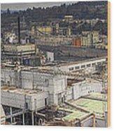Industrial Area Along River Panorama Wood Print