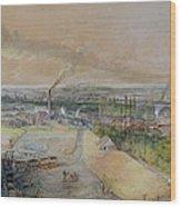 Industrial Landscape In The Blanzy Coal Field Wood Print by Ignace Francois Bonhomme