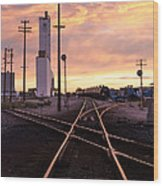 Industrial Rail Yard Wood Print