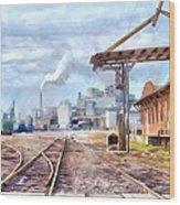 Industrial Railroad Scene  Wood Print