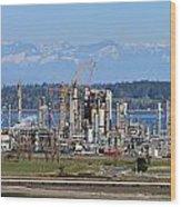 Industrial Refinery Wood Print