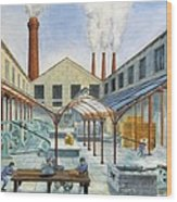 Industrial Revolution 19th C.. Factiry Wood Print by Everett