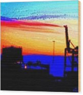 admire an Industrial sunset, because culture is also nature  Wood Print