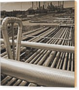 Industry Oil Gas And Fuel Wood Print by Christian Lagereek