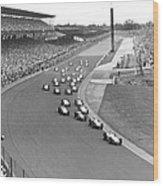 Indy 500 Race Start Wood Print