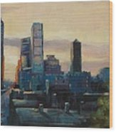 Indy City Scape Wood Print by Donna Shortt