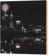 Indy Fireworks Wood Print by Joji Ishikawa