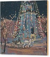 Indy Monument Lights Wood Print
