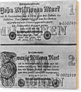 Inflated German Mark Bills Wood Print
