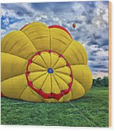 Inflating The Hot Air Balloon Wood Print