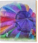 Inflating The Rainbow Hot Air Balloon Photo Art Wood Print