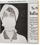 Influenza Prevention, 1918 Pandemic Wood Print