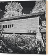 Infrared Covered Bridge Wood Print
