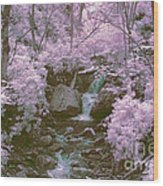Infrared Mountain Stream Wood Print