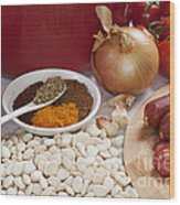 Ingredients For Spanish Chorizo Soup Wood Print
