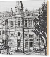 Ink Graphics Of An Old Building In Bulgaria Wood Print