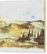 Ink Landscape Wood Print