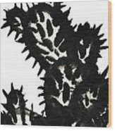 Ink Painting Of Opuntia Cactus Wood Print
